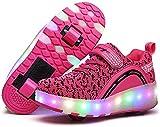 WSZMD Patines para Niños Y Niñas Skateboarding De Adultos Zapatillas De Deporte De Zapatillas Luminosas Luminosas Niños,Pink-36