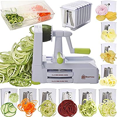 Brieftons 10-Blade Spiralizer: Strongest-and-Heaviest Vegetable Spiral Slicer, Best Veggie Pasta Spaghetti Maker for Low Carb/Paleo/Gluten-Free, With Blade Caddy, Container, Lid & 4 Recipe Ebooks