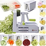 Brieftons 10-Blade Spiralizer: Strongest-and-Heaviest Vegetable Spiral Slicer, Best Veggie Pasta Spaghetti Maker for Low Carb / Paleo / Gluten-Free, With Blade Caddy, Container, Lid & 4 Recipe Ebooks