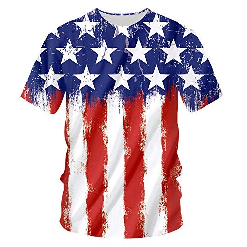 Us American Flag Mens T Shirts 3D Printed Graphic Short Sleeve Summer Tops for Women American Flag 1 M