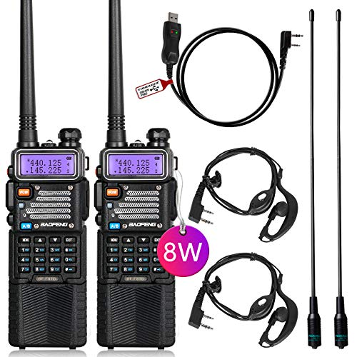 BaoFeng Radio High Power Ham Radio Handheld Upgraded BaoFeng UV-5R with Rechargeable 3800mAh Battery Walkie Talkie with TIDRADIO Driver Free Programming Cable (2 Pack)