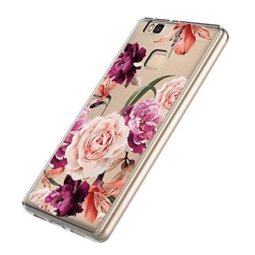Hülle für Huawei P9 Lite, HandyHülle TPU Silikon Backcover Case Blossom Blühen Blumen Flower Muster Schutz HandyHülle Tasche case für Huawei P9 Lite 5,2 Zoll (Huawei P9 Lite, 2)