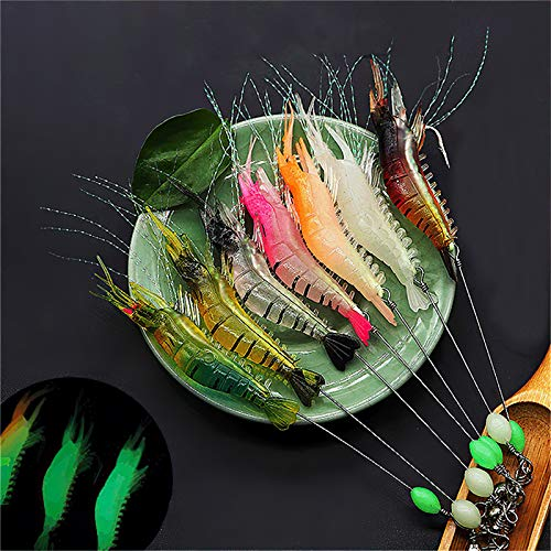 Fishing Lures Shrimp Bass Lures Shrimp Baits, Soft Luminous Shrimp Lure Set, 7 Pcs Bass Lures Silicone Enticement Setwith Hooks for Freshwater and Saltwater