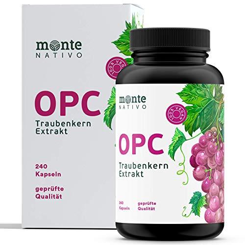 OPC Traubenkernextrakt MonteNativo - 240 Kapseln - 800mg Extrakt mit 528mg OPC pro Tag - Vegan, Bioflavonoide und Polyphenole -Aus französischen und italienischen Weintrauben -Hergest. in Deutschland