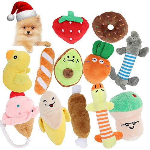 Squeaky Dog Toys, ENIBON Cute Stuffed Plush Pet Chew Toys, Durable Interactive Teething Toys for Puppy Small Medium Dogs (12 Packs)