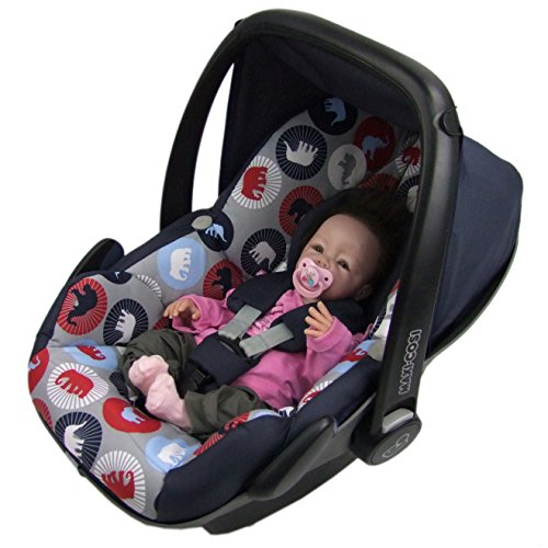 BAMBINIWELT Ersatzbezug für Maxi-Cosi PEBBLE 5-tlg, Bezug für Babyschale, Komplett-Set MARINE GRAU ELEFANTEN XX