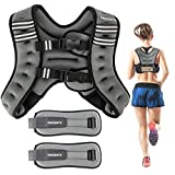 PACEARTH Weighted Vest with Ankle/Wrist Weights 6/12/16lbs Adjustable Body Weight Vest with...