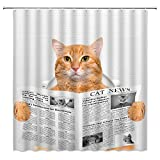 Funny Cat Shower Curtain Cat Reading Newspaper on Toliet Lovely Kitten Cute Animal for Pet Lover Home Bathroom Decor Quick Dry Fabric Curtain with 12 Hooks70x70 InchYellow White