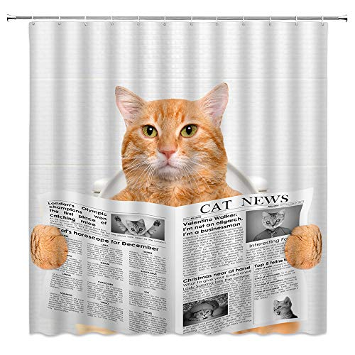 Funny Cat Shower Curtain Cat Reading Newspaper on Toliet Lovely Kitten Cute Animal for Pet Lover Home Bathroom Decor Quick Dry Fabric Curtain with 12 Hooks,70x70 Inch,Yellow White