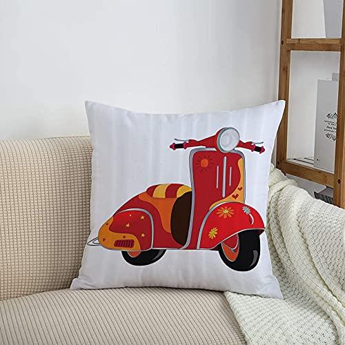 Fundas de cojines sencillas y clásicas de 45 x 45 cm,Vintage Set, Motor Scooter Caricatura clásica para hippies,ideales para casa, oficina o para la espalda en el coche - Fundas de Poliéster para sofá