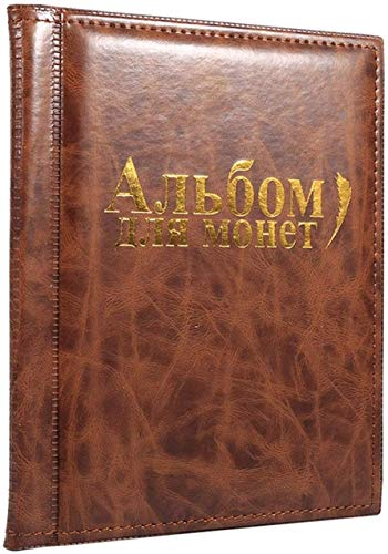Coin Album, 10 Pages Coin Collection Starter Kit 250 Pockets Coin Album Coin Collectors Coin Holder Collection Storage Classic Gifts (Brown)