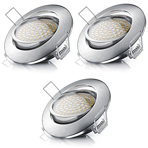 Brandson - LED Deckenspot dimmbar und schwenkbar 3er Set - LED Einbauleuchte - LED Einbauspot LED Deckenstrahler - Slim Aluminium Druckgussrahmen Edelstahl Optik