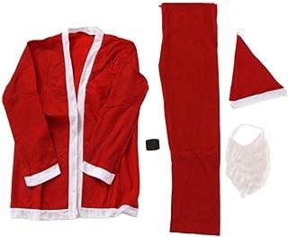 Toyvian 5 Piezas Adultos Traje de Santa Claus Set Santa Hat Top Pants Barba Cintura Banda Tela Fiesta de Navidad Vestir Suministros de Fiesta de Navidad