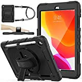 iPad 9th/8th/7th Generation Case 10.2'' with Screen Protector Pencil Holder [360 Rotating Hand Strap] &Stand, SEYMAC stock Drop-Proof Case for iPad 10.2 inch 2021/2020/2019 (Black)