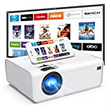 WiFi Projector, Uyole Mini Projector with 100'' Projector Screen, Native 1280x720P Outdoor Movie Projector, 1080P Supported, Wireless Mirroring via WiFi/USB Cable for iPhone/Android/PC/TV/PS5