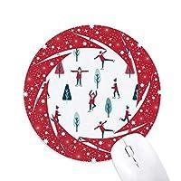 カラフルなスポーツ・スケートボード・スキーのイラスト 円形滑りゴムの赤のホイールパッド
