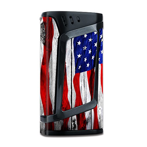 Skin Decal Vinyl Wrap for Smok Alien 220w TC Vape Mod stickers skins cover/ American Flag on Wood