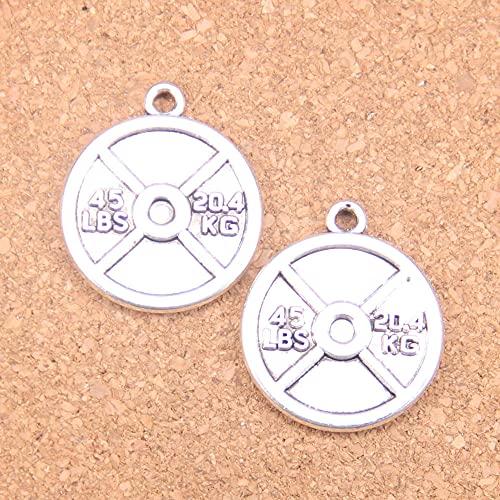 WANM Colgante 6 Piezas Encantos Barbell Disco Peso 45 Libras 24X28Mm Colgantes Antiguos Joyería De Plata Tibetana Vintage DIY para Collar De Pulsera