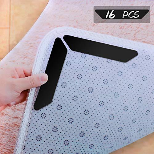 POAO Teppichgreifer Antirutschmatte für Teppich-Aufkleber Wiederverwendbare Funktion waschbar Büro Schlafzimmer Küche Bad idealer Rutschschutz für Teppich - Schwarz 16 Stück