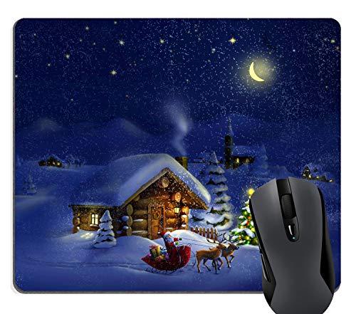 Wknoon Merry Christmas Mouse Pad Custom, Santa Claus Snowy Night Navy Blue
