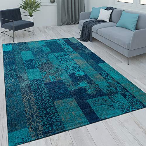 Patchwork Kurzflor Teppich Wohnzimmer Moderne Vintage Optik Floral Blau Türkis, Grösse:200x290 cm