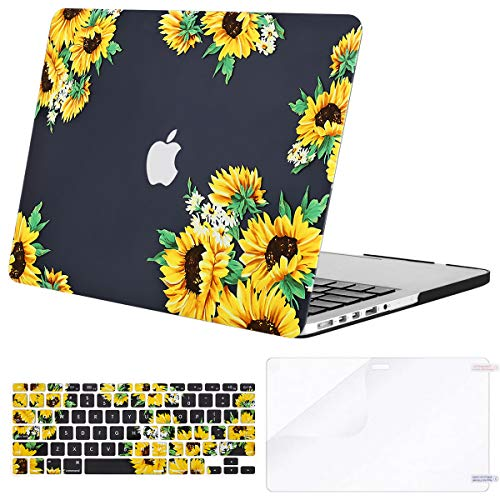 MOSISO MacBook Pro 15 inch Case (model: A1398, 2015 - end 2012 Release), Plastic Sunflower Hard Shell & Keyboard Cover & Screen Protector Compatible with Older Version MacBook Pro Retina 15 inch,Black