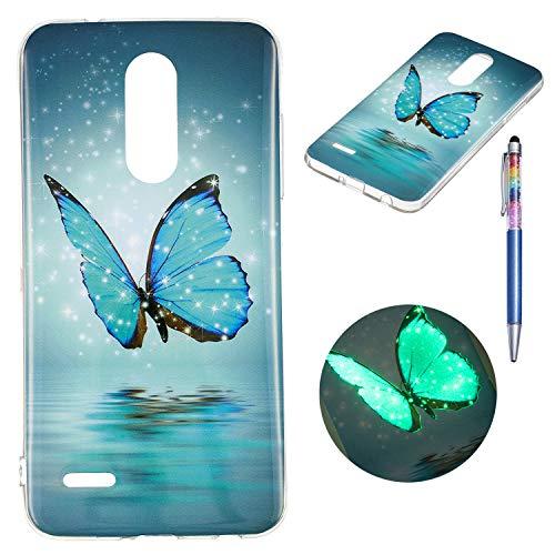 Keteen Cover per LG K10 2018, LG K11 Custodia, Bello Colorato Dipinto TPU Silicone Bumper Fluorescente in Dark Luminous Morbido Trasparente Custodia Sottile per LG K10 2018/ LG K11 - Farfalla Blu