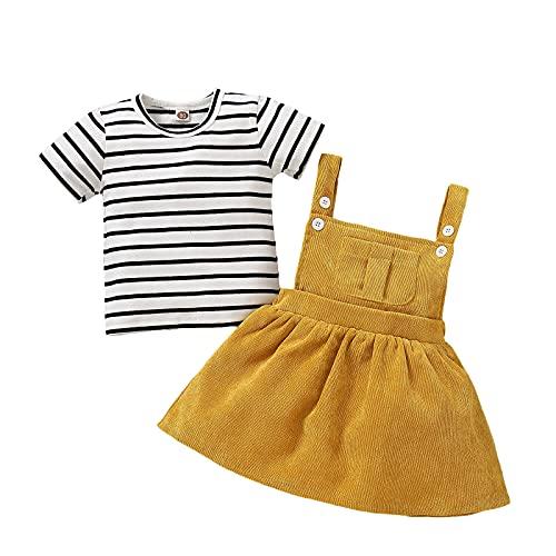 Conjunto de ropa para bebé niña de manga corta + falda con tirantes para recién nacido amarillo 3-6 Meses