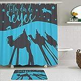 Juegos de Cortinas de baño con alfombras Antideslizantes, Las Sombras de los Reyes Magos Oriente Navidad Feliz Epifanía,con 12 Ganchos
