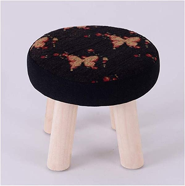 Carl Artbay Wooden Footstool Black Butterfly Pattern Household Solid Wood Stool Fashion Change Shoes Stool Home