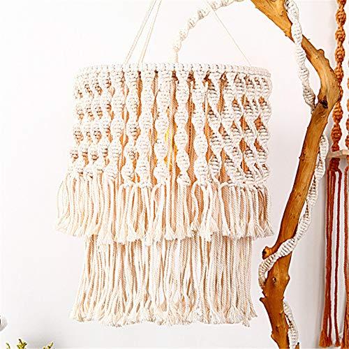 Corwar Pantalla de lámpara Tejida a Mano Dormitorio Bohemio Decorado con Tapiz Tejido de Estilo étnico Lámpara Colgante Decoración Pantalla de lámpara de Tiro de Viento étnico