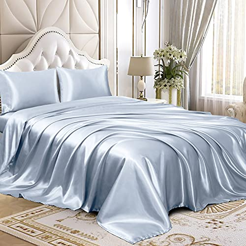 Homiest 4pcs Satin Sheets Set Luxury Silky Satin Bedding Set with Deep Pocket, 1 Fitted Sheet + 1 Flat Sheet + 2 Pillowcases (Queen Size, Baby Blue)