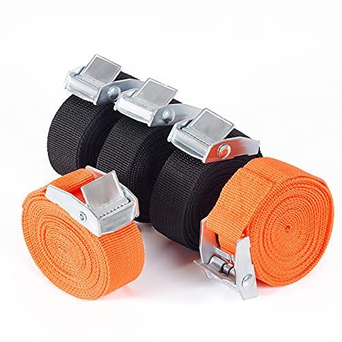VoJoPi Spanngurt mit Ratsche, 5er Pack Zurrgurte Befestigungsriemen mit Metallschnallen, für Auto Heckträger motorrad Fahrrad Klemschloss Gurte, 2,5cm x 2,5m