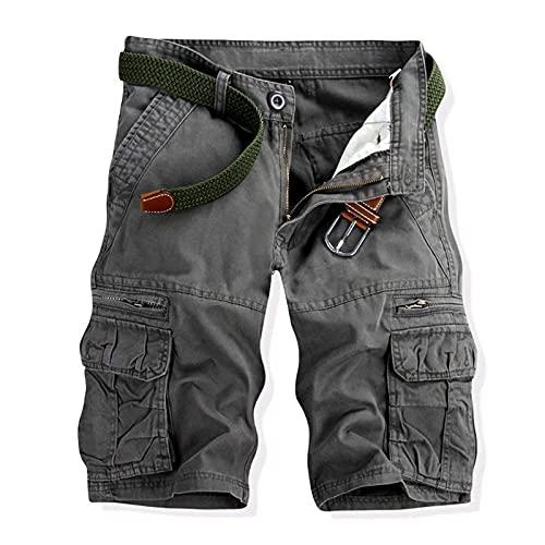 EMPERSTAR Pantaloncini da bagno da uomo Pantaloncini cargo leggeri Pantaloni da lavoro in cotone da esterno con tasche multiple Grigio 1 36