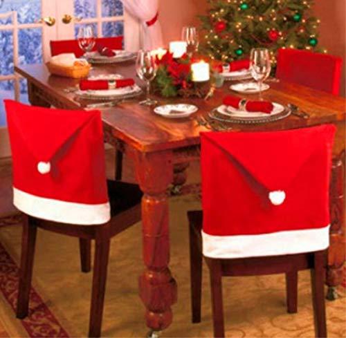 EMIN 6er Set Weihnachten Stuhlhussen,Santa Claus Stuhlhusse Weihnachtsmütze Weihnachtliche Stuhlbezüge Stuhlhussen - Rot & Weiß mit Pom Poms - Ideal für Weihnachtsfeiern & Feiern