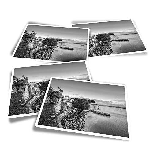 Pegatinas rectangulares de vinilo (juego de 4) – BW – San Juan Puerto Rico Caribbean Travel Fun Calcomanías para portátiles, tabletas, equipaje, reserva de chatarra #43474