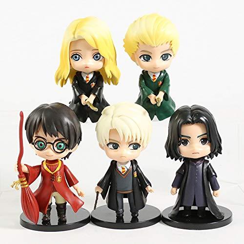 xingguang Anime Niños Regalo Q Posket Hermione Granger Ron Weasley Draco Malfoy Severus Snape Figuras de PVC Juguetes Muñecas 5pcs/et (Color: C)