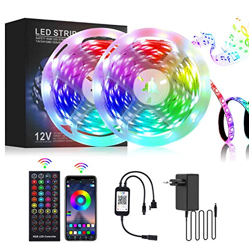 LED Strip 10m RGB LED Streifen 5050 Band Lichtband APP-Steuerung, Fernbedienung, LED Beleuchtung Leiste mit Musik für Schlafzimmer, Zimmer, Küche, Party (2 x 5m)