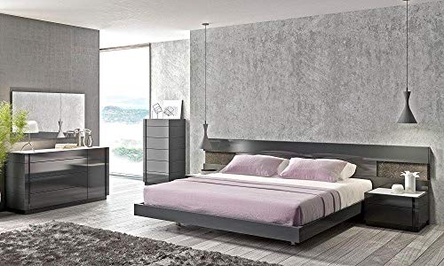 Purchase Modern Natural Wood Veneer Grey Lacquer Customizable King Bedroom 5Pcs Soflex Braga