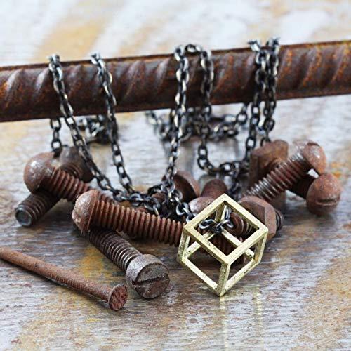 Men's Open Brass Cube Necklace - Guys Cool Urban Geometric Jewelry