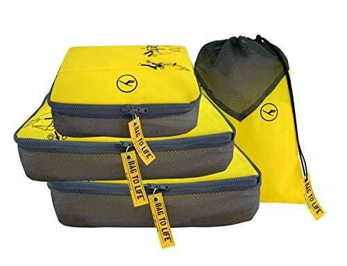 BAG TO LIFE Lufthansa Easy Packing Set 4 tlg Kleidertaschenset Reise Gepäckset Travelset Taschenset Unikat Reisetaschenset