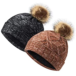 VBIGER Womens Winter Knitted Beanie Hat with Faux Fur Pom Warm Knit Skull Cap Beanie for Women