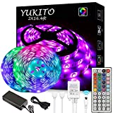 【Complete LED light strip kit for bedroom】2 reels of 16.4ft RGB LED light strips (total 32.8ft , waterproof), 44 keys IR remote controller, 12V 5A power supply. 【LED light features】Ultra bright and high-quality LED chips allows the LED lights to be v...