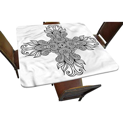 Decorative Elastic Edged Square Fitted Tablecloth,Royal Old Celtic Knot Polyester Indoor Outdoor Fitted Tablecover for Folding Table Picnic Birthday Camping Garden Banquet Fit Square Table up to 42'