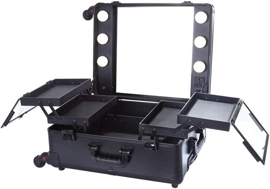 JUNWEN Caja cosmética de la Carretilla de Rueda Universal con la lámpara y el Espejo Caja de Almacenamiento portátil Negro Caja de Maquillaje de Viaje de Gran Capacidad, Negro, 40 × 22 × 50cm