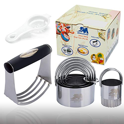 Pastry Cutter Set Biscuit Cutter Set (5 Circle+1Fluted Edge) Dough Blender Mixer Cookie Cutters Round Baking Dough Tools & Pastry Utensils with Egg Separator Gift Package