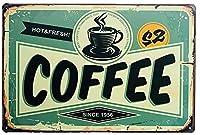 屋内と屋外のホームバーコーヒーキッチンの壁の装飾のためのホットコーヒーヴィンテージスタイルの金属サイン鉄の絵8X12インチ