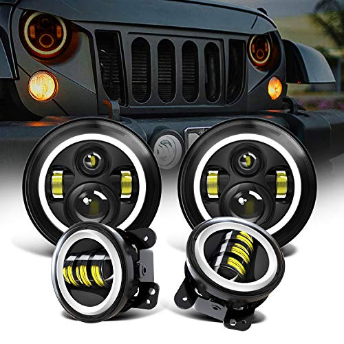 Spead Vmall 7 Inch 60W Black LED Headlights with White DRL/Amber Turn Signal + 4 inch LED Fog Lights with White DRL Halo Ring for Jeep Wrangler 1997-2018 JK LJ Tj Lj JKU Unlimited