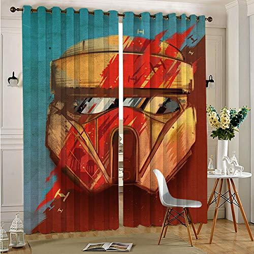 Star Wars - Cortinas con ojales para dormitorio, 110 x 215 cm x 2 piezas
