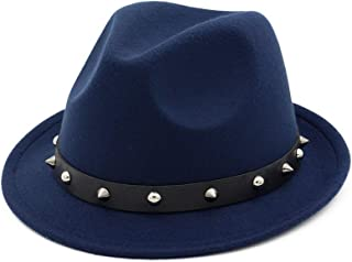 XinLin Du Fashion Women Men Wool Fedora Hat With Punk Rivet Ribbon Elegant Lady Fascinator Jazz Hat Size 56-58CM